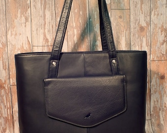 Oak tote bag in soft black leather. Shopper Work bag Shoulder bag black bag