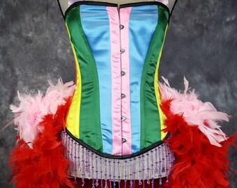 RAINBOW Circus Mardi Gras Costume Burlesque Corset Showgirl Ringmaster Gay Pride