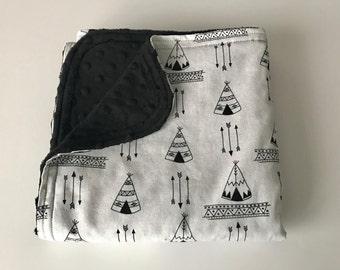 cozy baby blankets black white tee pee arrow with black minky newborn