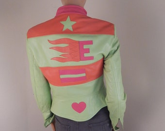 Vintage Escada Jacket, escada neon jacket, escada leather jacket. designer, 1990s