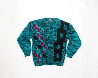 Chunky Graphic Cardigan 80s Geometric Print Thick Knit Sweater 1980s New Wave Cardi 80s Jumper Comfy Cozy Warm Boyfriend Sweater Small