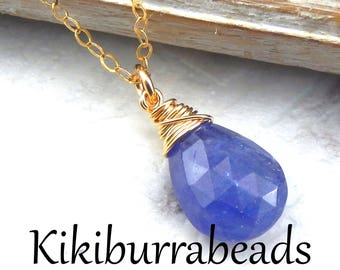 Blue Tanzanite Necklace,Tanzanite Necklace,Royal Blue,Wire Wrapped Gemstone Necklace,Gold Filled