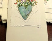 "Mother Earth Heart Watercolor Card ""Small Card"" 3.5 "" x 4.75""  Stramore Canvas Card betrueoriginals"