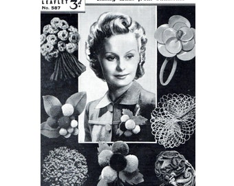Craft Pattern 1940s  Variety of Buttonholes  Crochet Felt Wool Leather PomPoms Brooch Corsage Wedding WWII