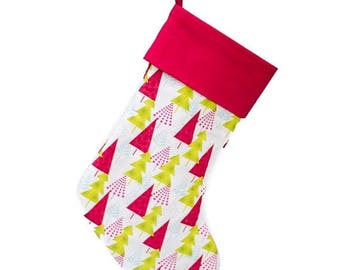 CLEARANCE SALE Christmas Stocking | Handmade Hip Holiday Christmas Trees Stocking | Monogrammed Stocking Option Available | Ready To Ship |