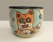 Small Fox Cup, Orange and Blue Wine Cup, Whiskey Cup, or Juice Cup with Flowers and Skulls, Animal Art Pottery