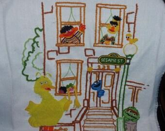 Sesame Street Big Bird and Friends Needlepoint Craft Finish Vtg. 70'S