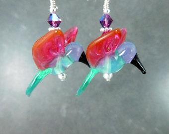 Hummingbird Earrings, Colorful Bird Jewelry Nature Jewelry Lampwork Earrings Green Pink Purple Earrings Gifts for Bird Lovers Animal Jewelry