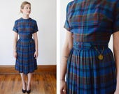 50s/60s Blue Plaid Dress with Pleated Skirt - XS