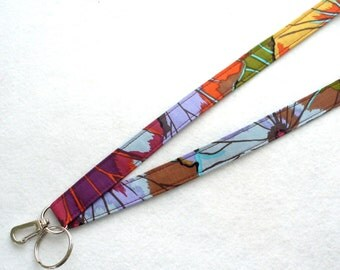 Kaffe Fassett Fabric Lanyard Breakaway Lanyard Designer ID Badge Holder Clip Key Ring Fob Lotus Leaves Antique Purple Fuchsia Blue MTO