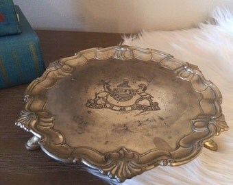 Vintage Silverplate  tray with feet and Stag Deer Crest ~ Major AB Adversis