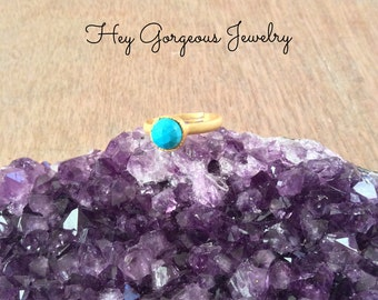 18k gold turquoise stacking ring- size 7- adjustable ring- gemstone ring- stackable ring- gold stacking rings- valentines gift