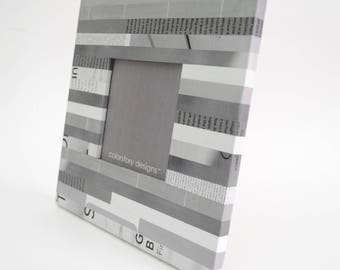 grey & white picture frame - made with recycled magazines - recycled, square, frame, stripes, modern,interior design, neutral, calm, retro