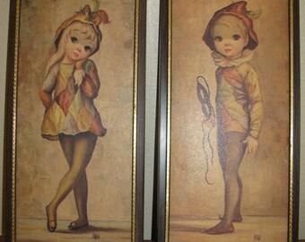 Set of Two VTG MAIO Big Eyed Harlequin  Moppets Boy and Girl Litho Framed Art Pictures Signed Framed NICE