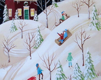 The Hill Seekers ORIGINAL Folk Art Painting FREE Shipping