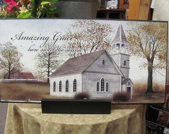 Amazing Gace,Inspirational Wall Decor,Country Church,Billy Jacobs,18x9 Wooden Art Sign