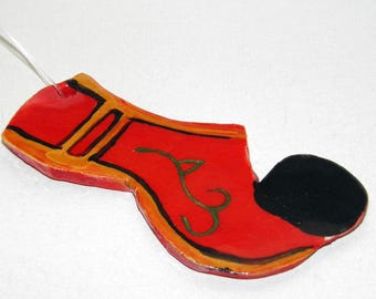 Greek Handmade Traditional Ceramic Rustic Folklore Shoe TSAROUHI Tile