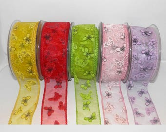 2 Meters Organza ribbon 4.5cm wide. Organza Ribbon with Butterflies Print and Wire Edges. Transparent ribbon with butterfly design.