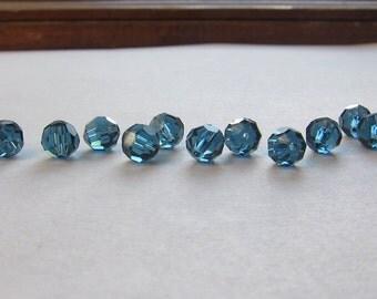 5mm Montana Blue Swarovski Round Beads - (19)