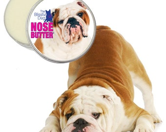 Bulldog ORIGINAL NOSE BUTTER® All Natural Handcrafted Moisturizing Salve for Dry or Crusty Dog Noses Choice 1, 2 or 4 oz Tin Bulldog Label