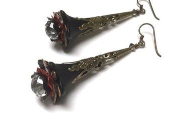 Victorian Filigree Flower Earrings. Long Drop Earrings. Red. Black. Lightweight. Garden. Romantic. Fairy. Be Mine. Handmade Jewelry.