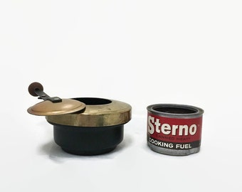 Vintage Brass Camping Stove - Sterno Burner - Sliding Cover