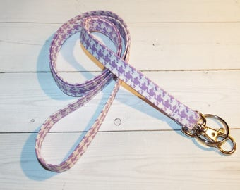 Skinny houndstooth Lanyard  ID Badge Holder -  Lobster clasp and key ring New Thinner Design - lavender