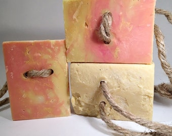 Orange and Patchouli-Beer Soap On A Rope-Gift for Him-Beer-Essential Oil-Handcrafted-Artisan-Cold Process-Soap-Beer-Natural-Abbotsford- BC