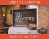 Wine Cork Shadowbox Guestbook (W-060) - wedding photo prop vintage shabby chic cottage decor guestbook alternative