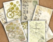 Printable Steampunk ACEO, ATC Background Clockwork Gears, Digital Collage Sheet,  Instant Download, Size 3.5 X 2.5 in.