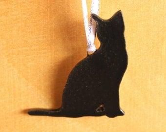 Ceramic CAT Ornament - Handmade Porcelain Black Cat Christmas Ornament - Holiday Decoration - Ready To Ship