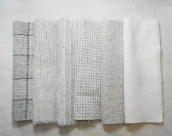 Felted Wool Fabric in a Wonderful Combination of Grey and Natural Tones - Rug Hooking - Quilting - Wool Applique - Quilting Acres