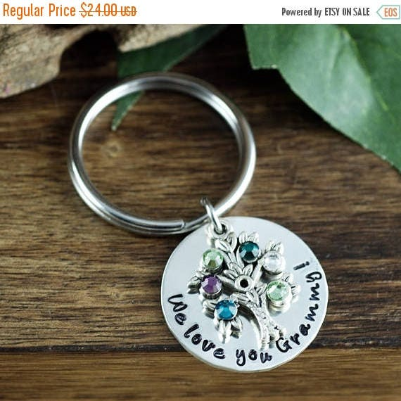 15% OFF SALE Silver Family Tree Birthstone Keychain, Tree of Life Keychain, Birthstone Charm Key Chain, Gift for Grandma, Mothers Day gift