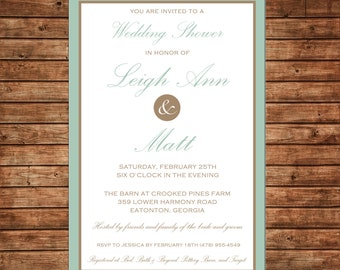 Formal Elegant Wedding Bridal Shower Rehearsal Dinner Couple Party Mint Taupe Invitation - DIGITAL FILE
