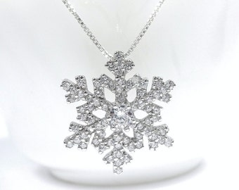 Silver Snowflake Necklace, Sterling Silver and CZ Snowflake Pendant, Christmas Gift, Christmas Necklace, Gift for Her, Flower Girl Necklace