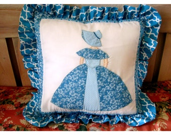 "Ruffled Appliqued Pillow with Pillow Form Aqua Blue and White 16"" x 16"", An Old Fashioned Girl"