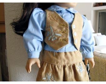 Eighteen 18 Inch Doll Clothes Four Piece Vest and Skirt with Sequins, Blouse and Denim Capris