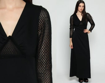 Black Maxi Dress 70s Bohemian SHEER CROCHET Gothic Lace Cut Out Empire Waist Party Boho Hippie Goth 1970s Vintage Long Sleeve Small