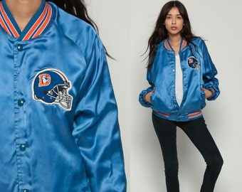 NFL Jacket DENVER BRONCOS Varsity Satin Jacket 80s Football Bomber Sports Baseball Snap Up 90s Vintage Retro Letterman Blue Shiny Large