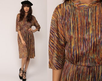 70s Midi Dress Stripe 1970s Mod Boho Brush Stroke Print High Waisted Vintage 3/4 Sleeve Bohemian Slouch Blue Yellow Rust medium large