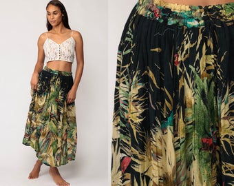 Broomstick Skirt Gypsy Maxi Skirt PARROT Bird Boho Hippie Jungle Print 90s Bohemian 1990s Vintage Blue Small Medium Large