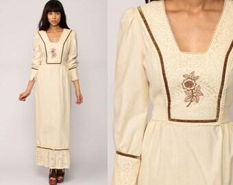 70s Maxi Dress Prairie Cream Crochet LACE Bib Tiered Boho Puff Sleeve 1970s Bohemian Wedding Prairie Empire Long Vintage Hippie Small
