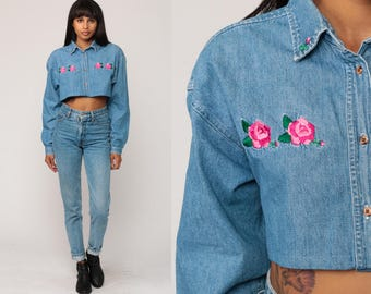 Denim Blouse 90s Grunge Shirt Jean EMBROIDERED FLORAL Shirt Crop Top Button Up Top Vintage 1990s Long Sleeve Blue Pink Small Medium