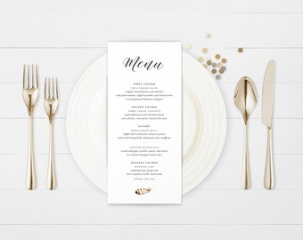 The Greer Watercolour Feather Wedding Menu Card