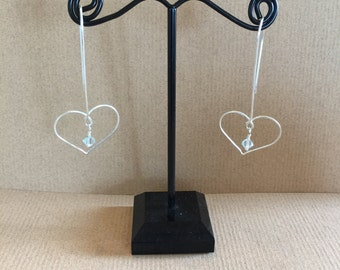 Sterling Silver heart on long ear wire