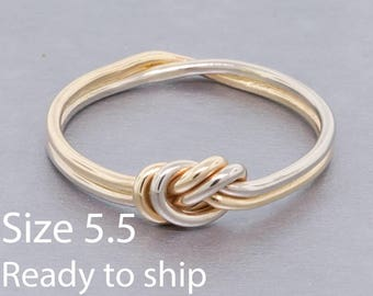 Ready to ship - size 5.5 - Double strand nautical knot engagement ring, 14k yellow and white gold love knot ring 1mm thick