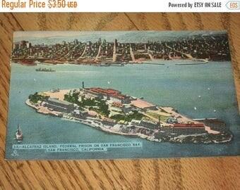 SALE- Mid-century Postcard Shows Alcatraz Island, Federal Prison, San Francisco Bay, 1950s Linen Postcard