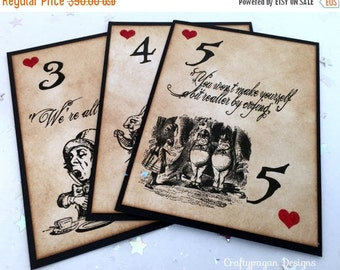 Alice in Wonderland Table Numbers 1-10/ Mixed Alice Table Names Playing Card/ Through the Looking Glass Wedding/ Vintage Alice Table Markers