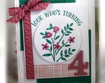 "Stampin' Up Look Wh""s Turning 4 Card"
