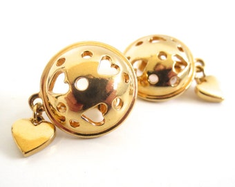 Vintage 80's Avon // Cutout Heart Dome Earrings